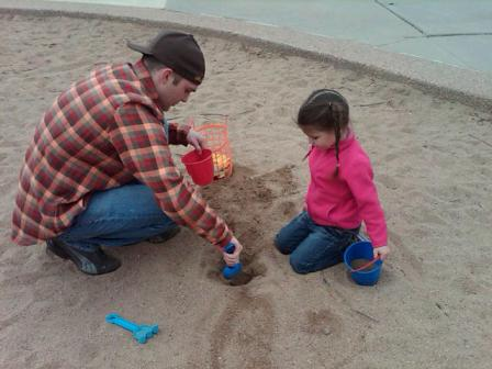 Cody, playing with his daughter, Olivia, in 2010.